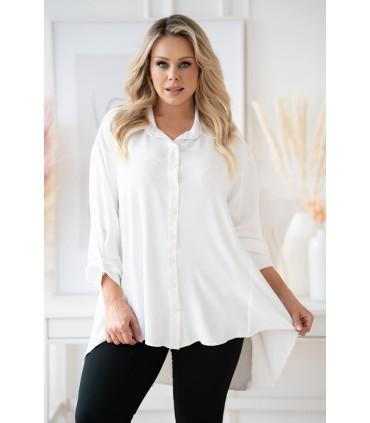Biała długa koszula z dłuższym tyłem - MOLI