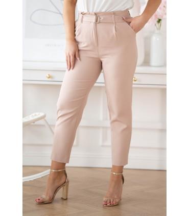 Pudrowe eleganckie spodnie z wyższym stanem - Gianna