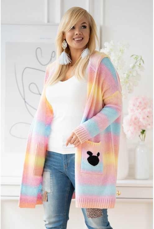 Żółto-turkusowy sweter Viva