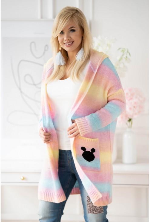 Żółto-turkusowo-różowy sweter