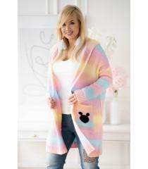 Żółto-turkusowo-różowy sweter ombre z kapturem - VIVA