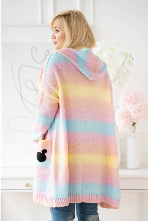 kolorowy sweter ombre z kapturem