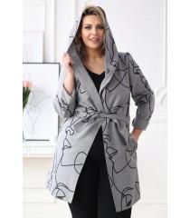 Szary płaszcz z czarnym wzorem - NICOLET