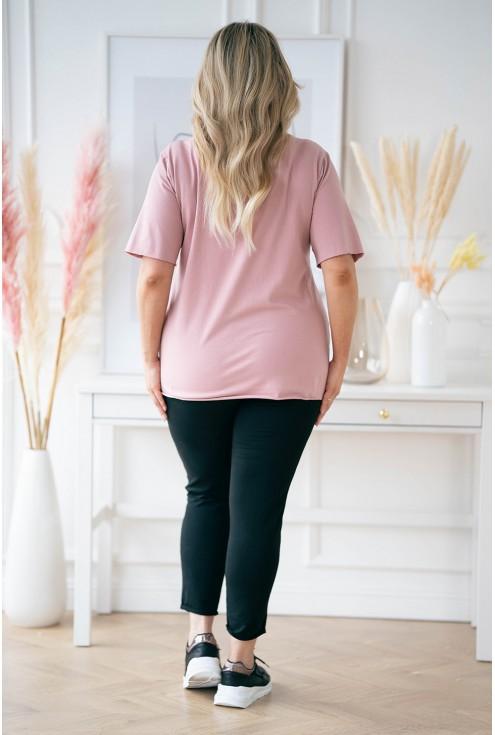 Pudrowa bluzka plus size