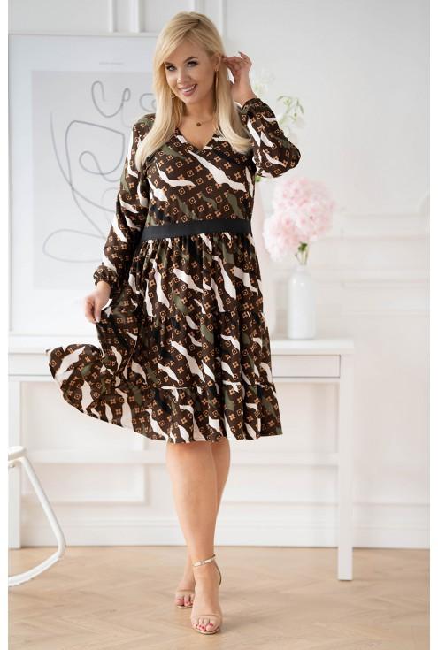 Brązowa sukienka plus size Zoli