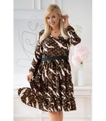 Brązowa sukienka z falbanami w kolorowy wzór - ZOLI
