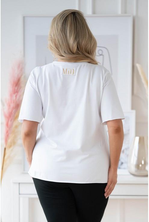 tył białej bluzki w większym rozmiarze