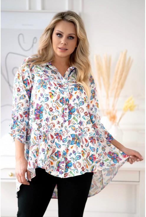 koszula w kolorowe kwiaty wzór turecki