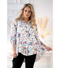 Biała koszula w kolorowe kwiaty (paisley) z dłuższym tyłem - MOLI