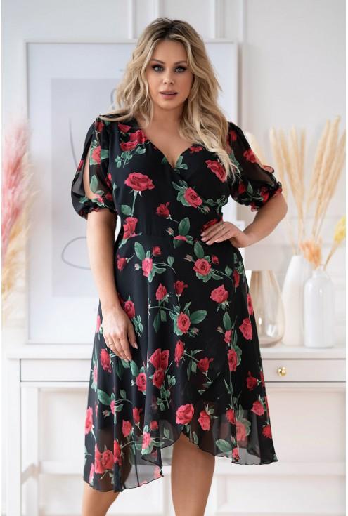 Czarna sukienka w czerwone róże