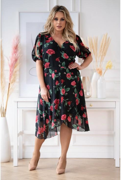 Czarna sukienka w czerwone kwiaty