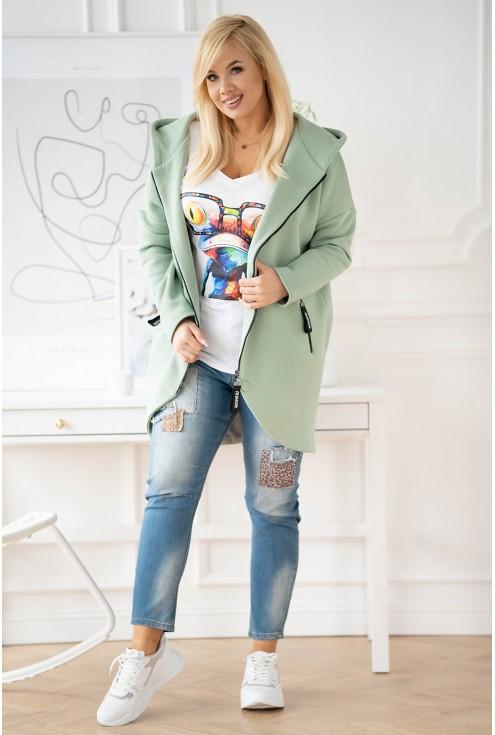 płaszcz z asymetrycznym przodem