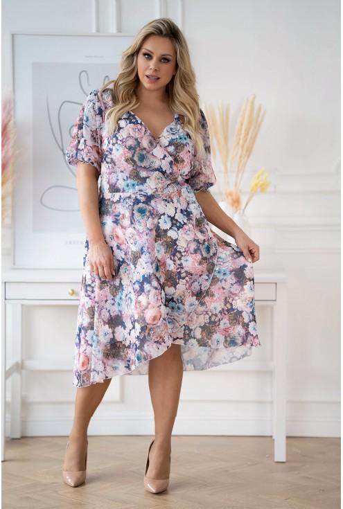 sukienka Verita XXL w kolorowe kwiaty.