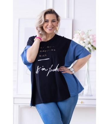 Czarna bluzka z wstawkami imitującymi jeans - ELLIS