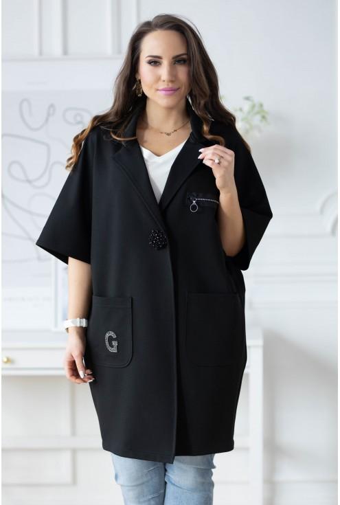 Czarny płaszczyk Della duże rozmiary