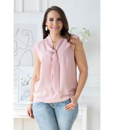 Brudny róż szyfonowa bluzka z wiązaniem na dekolcie - DEBBIE