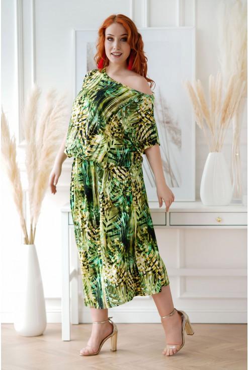 Sukienka 7/8 z wzorem w zielone liście