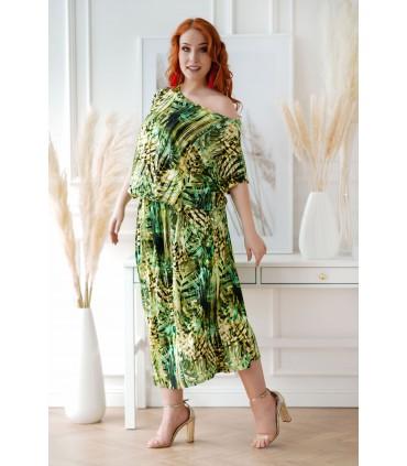 Sukienka 7/8 z wzorem w zielone liście  - GRAND PRINT