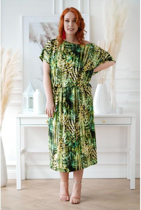 Sukienka maxi z roślinnym wzorem