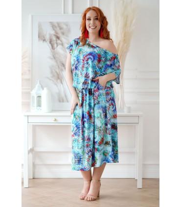Niebieska sukienka 7/8 z wzorem z kolorowym wzorem - GRAND PRINT