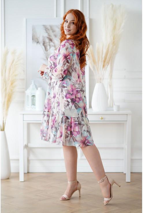 Sukienka XXL Sarisa w kwiatowy wzór