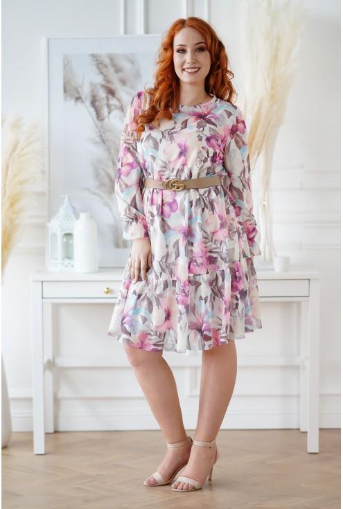 Kremowa sukienka w kolorowe kwiaty