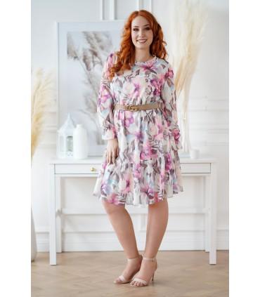Kremowa sukienka w kolorowe kwiaty - Sarisa
