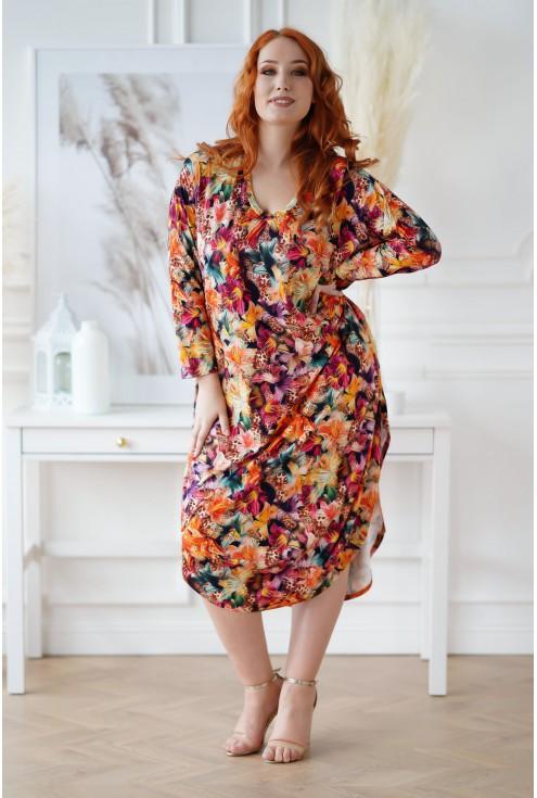 Sukienka plus size kwiatowy wzór