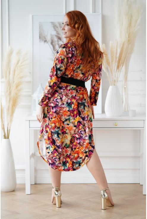 sukienka z egzotycznymi kwiatami