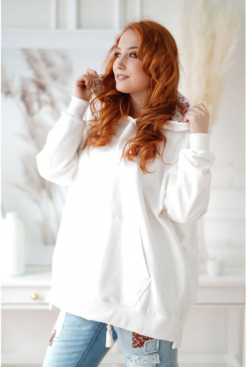 Biała bluza z kapturem w kwiaty