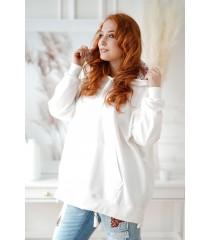 Biała bluza z kapturem w kwiaty - KEILA
