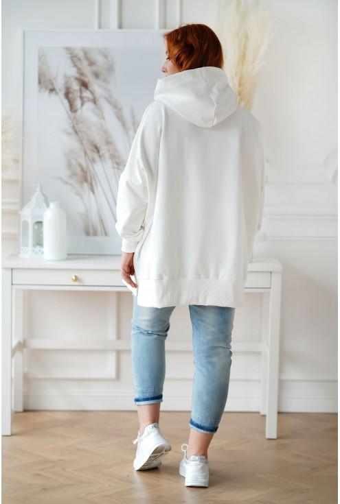 Tył białej bluzy XXL z kapturem