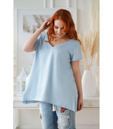 Klasyczna jasnoniebieska bluzka tunika z dekoltem w serek - NELA