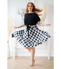 Długa czarna sukienka w drobną kratę - LUCENA