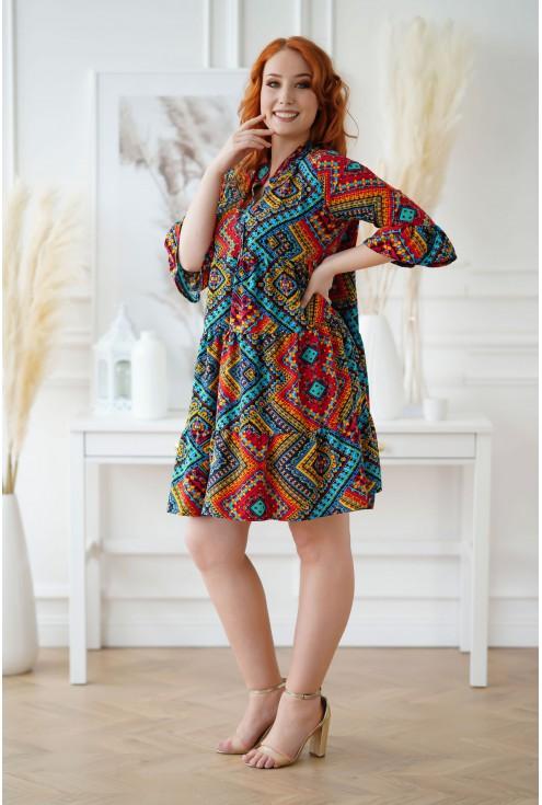 Sukienka z azteckim kolorowym wzorem