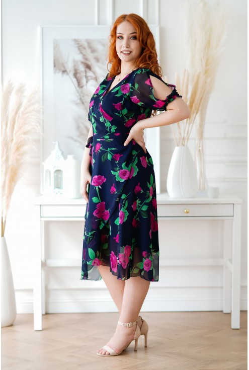 Granatowa sukienka Verita plus size