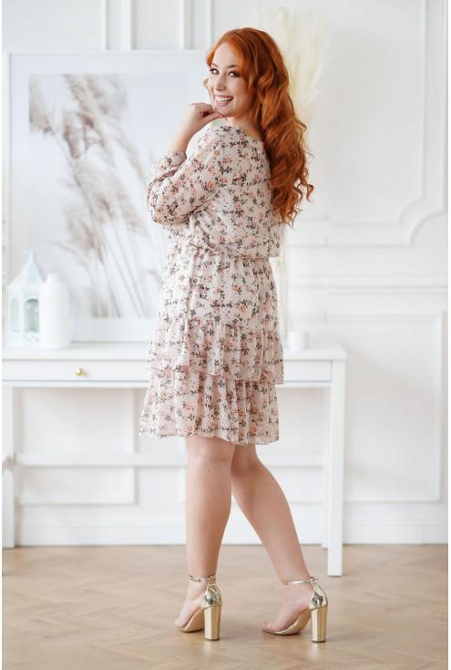 beżowa sukienka w drobne róże