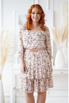 Beżowa sukienka z drobnymi kwiatkami