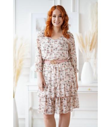 Beżowa sukienka z drobnymi kwiatkami - Coralie