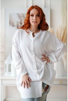 biała letnia koszula plus size