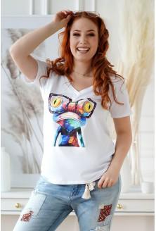 biały T-shirt żaba