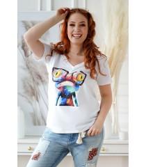 Biały t-shirt z krótkim rękawem - wzór żabka - SASHA