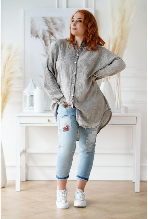 Oversizowa beżowo-szara koszula