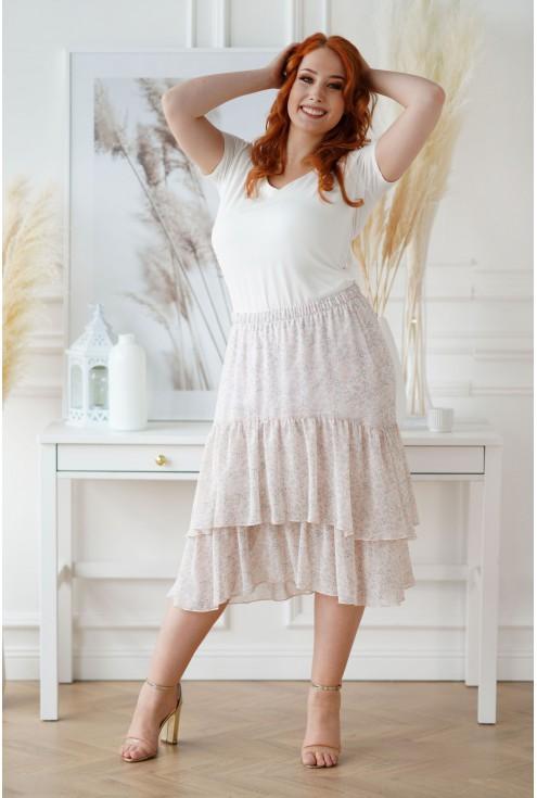 jasna spódnica z falbanami