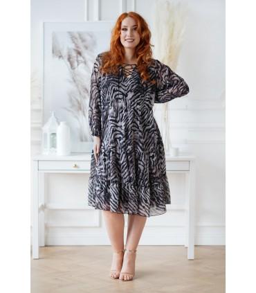 Czarno-beżowa sukienka we wzór zebry - Nesti