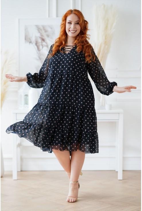 sukienka XXL w beżowe kropki