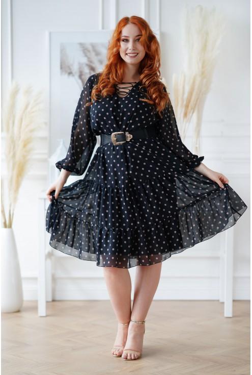 Czarna sukienka w beżowe kropki Nesti