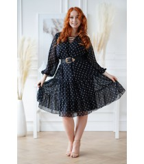 Czarna sukienka w beżowe kropki - Nesti