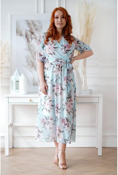 Błękitna sukienka maxi w kwiaty