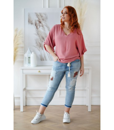 Brzoskwiniowo-różowa bluzka z szerokimi rękawkami - Lira